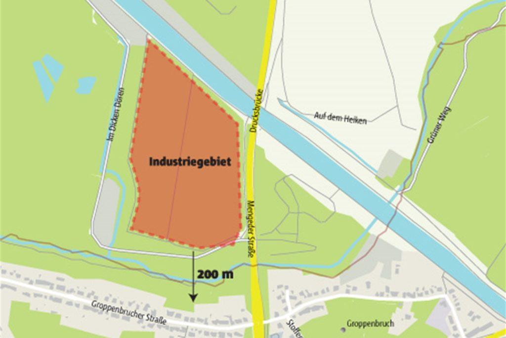 23 Hektar groß ist die Grünfläche westlich und östlich der Mengeder Straße, 15 Hektar groß das Plateau im Westen. Zwei Drttel des Plateaus soll das Industriegebiet einnehmen.