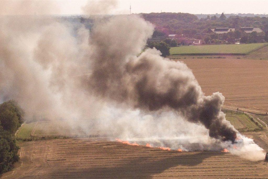 Ein Drohnenfoto zeigt das Ausmaß des Brandes im August 2020.