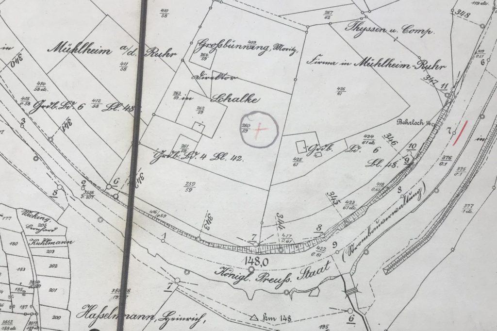 Auf der Karte von 1912 ist die Villa Großbüning in einer Schleife der Lippe verortet, die damals noch weiter südlich als jetzt durch Dorsten floss.