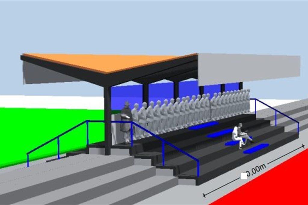 So soll sie einmal aussehen: die neue, moderne Tribüne des SV Heek, die für beide Plätze konzipiert ist.