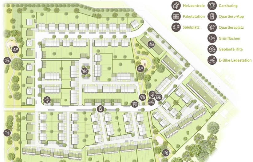 Der Lageplan des Neubaugebietes. Die Recklinghauser Straße verläuft schräg zwischen Lageplan und Legende. An der Straße sollen Geschosswohnungsbau und eine Kita realisiert werden.