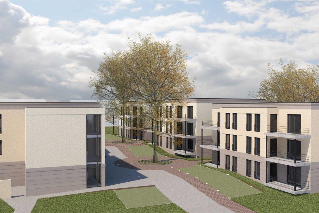 Drei seniorengerechte Stadtvillen mit insgesamt 36 Balkon-Wohnungen und ein weiteres Gebäude für einen Wohngemeinschaft und eine Tagespflege (l.) gehören zum zukünftigen Wohnpark Dortmund-Rahm.