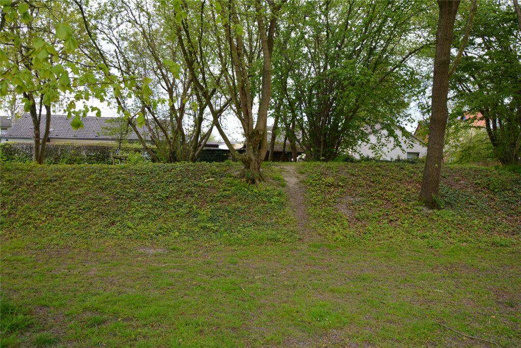 Hinter diesem Wall im westlichen Teil des Parks beginnen die Gärten der Anwohner. An den Gartenzäunen hinter dem Wall verrichten Parkbesucher immer wieder ihre Notdurft. Ein kleiner Trampelpfad zeugt von regem Fußverkehr.