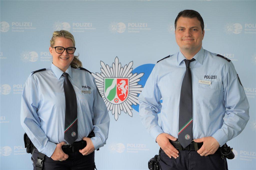 Die Jugendkontaktbeamten Katja Wittmann-Jodscheit und Mark Poltrock der Polizei Dortmund.