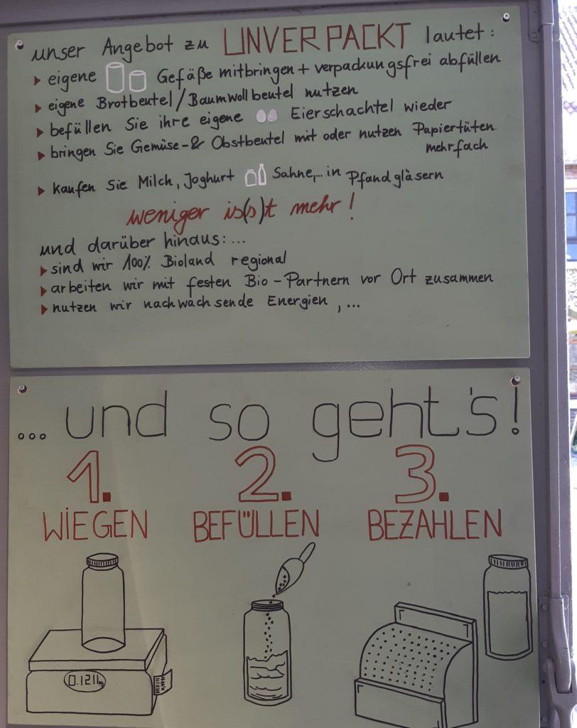 Mittels eines Plakates wird der Kauffvorgang der Unverpackt-Produkte erläutert.