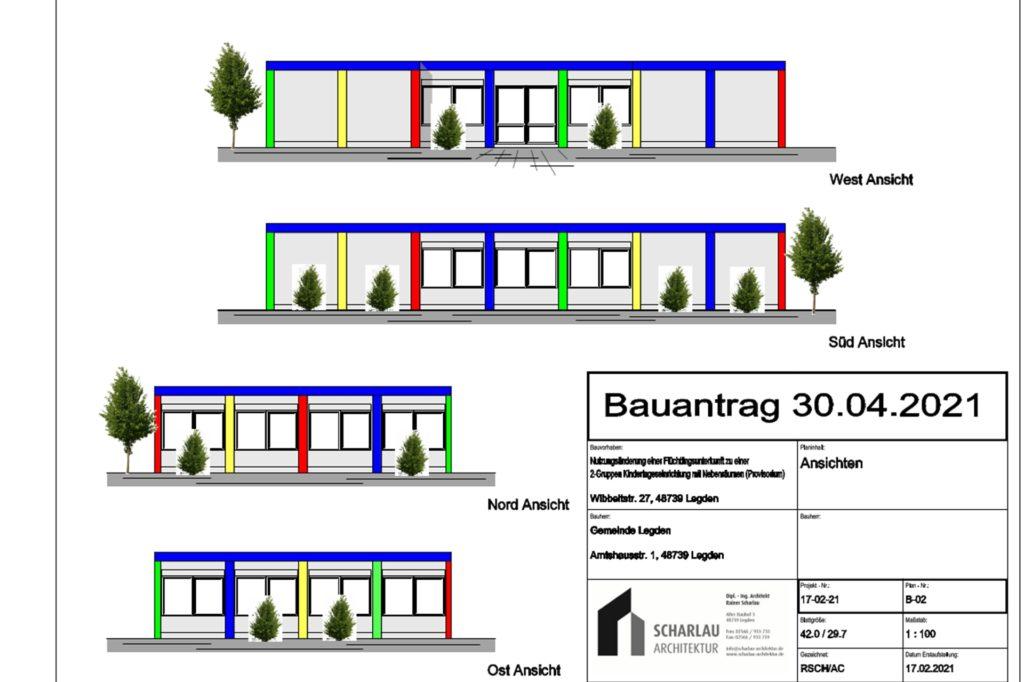 So könnte der provisorische Kindergarten im Pavillon an der Brigidenschule von außen aussehen.