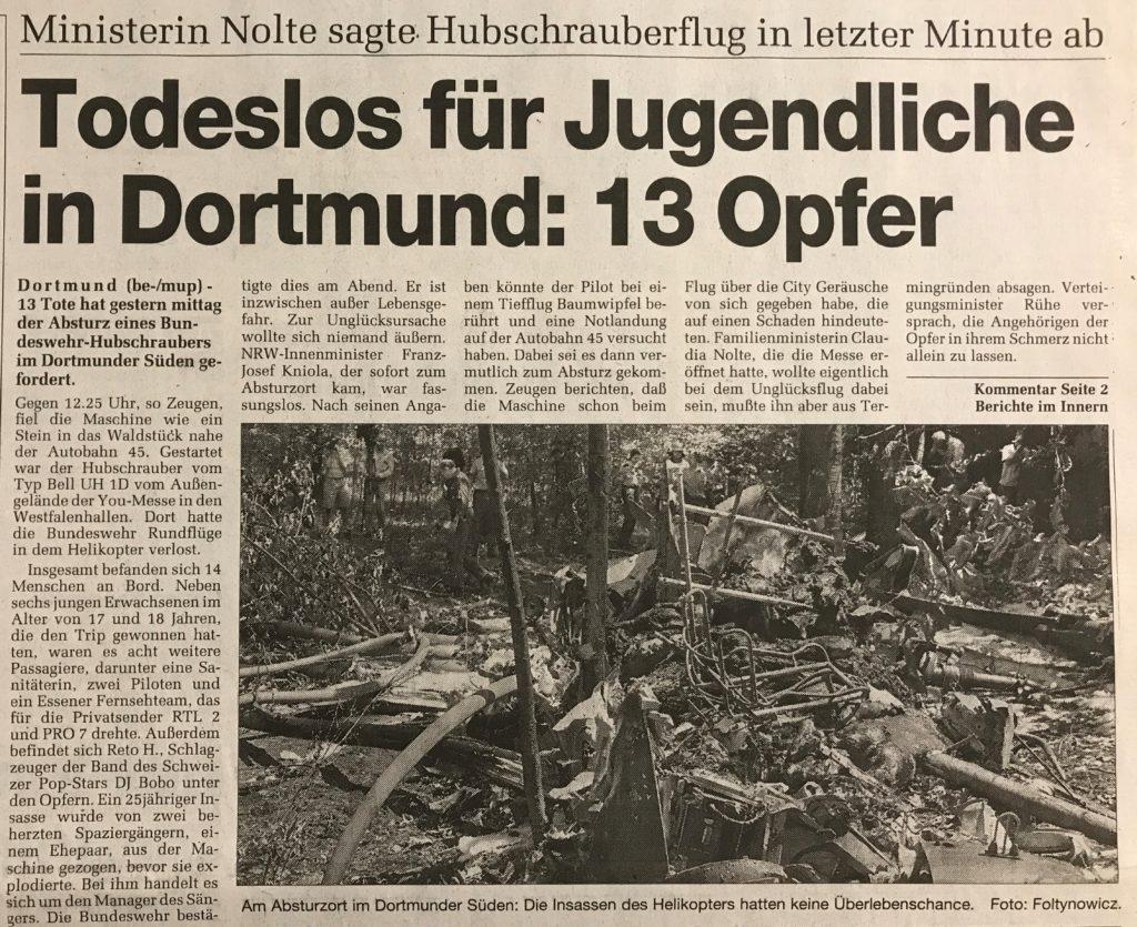 Ruhr Nachrichten zum Hubschrauber-Absturz an der Messe You