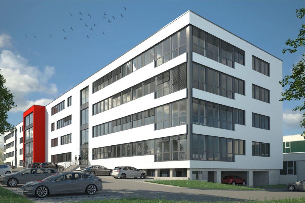 So, wie in dieser Animation, sieht das neue Swisslog-Gebäude an Bünnerhelfstraße am Ende aus. Die Firma für Automatisierungstechnik ist in Dortmund auf Expansionskurs und will den Neubau im April beziehen.