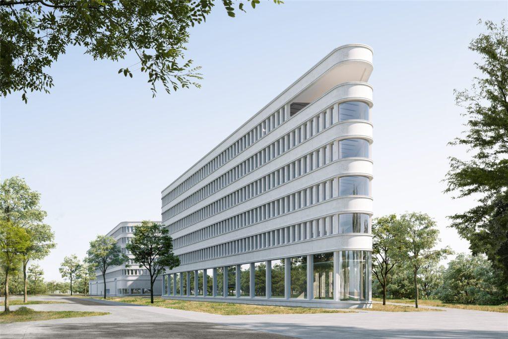 Diese Büroimmobilie entsteht gerade auf Phoenix-West. Das Dortmunder Architekturbüro Gerber liefert den Entwurf für die neue Unternehmenszentrale des IT-Spezialisten Materna.
