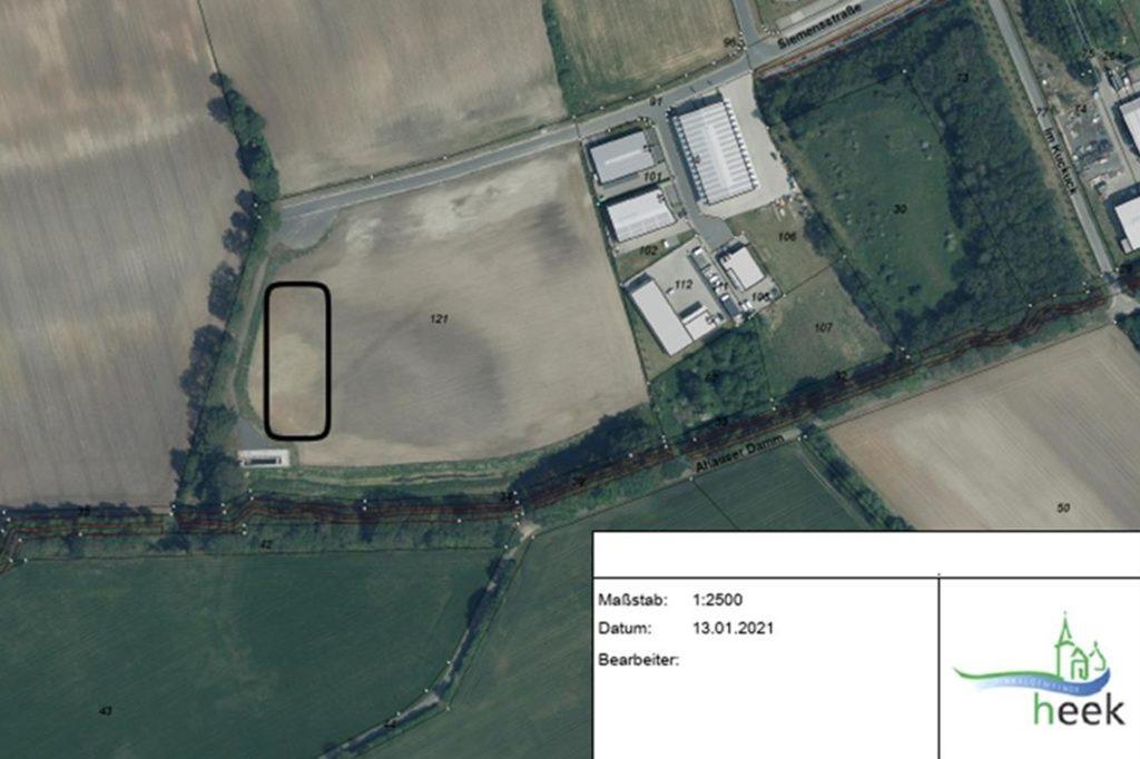 Das markierte Grundstück im Gewerbegebiet Heek-West käme für die geplante KVA in Frage.