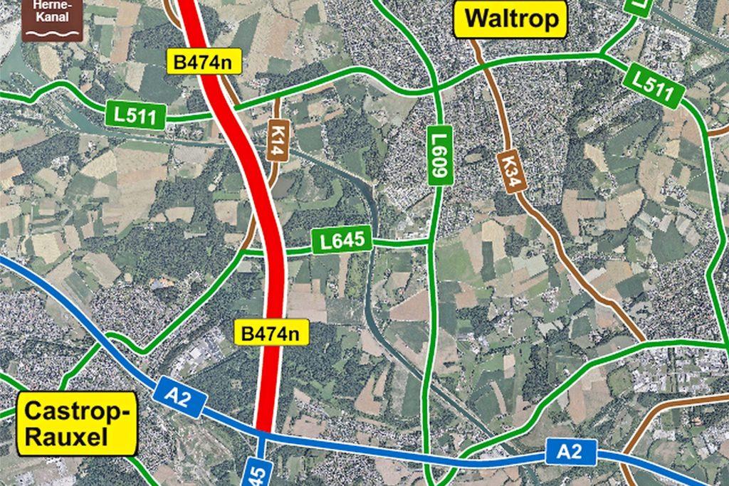 Auf dieser Skizze von Straßen.NRW ist der Verlauf der B474n gut abzulesen. Man sieht auch, dass dort, wo sie entstehen soll, bisher Wald, Wiesen und Ackerland liegen.
