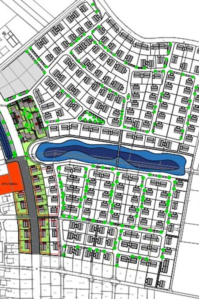 Der Planentwurf zum Baugebiet Sanderskamp