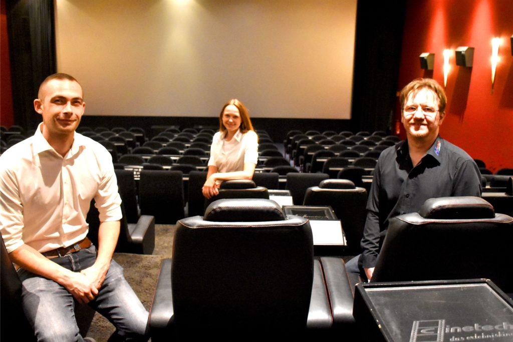Niklas Feider, Selena Heise und Jens Lehmann vom Cinetech Ahaus freuen sich auf den Neustart.