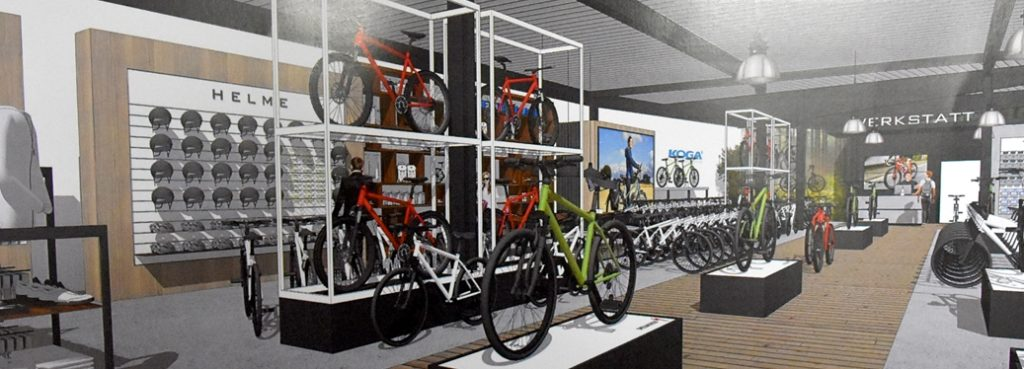 Die Entwürfe zeigen, wie Zweirad Kestermann sich am neuen Standort aufstellen will: Der Schwerpunkt liegt auf der Präsentation von Rädern und Zubehör. Am Sortiment soll sich nicht viel verändern.