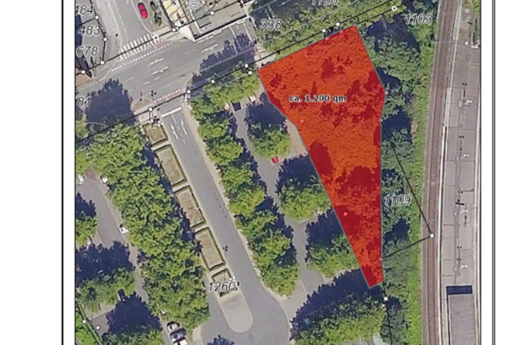 Das Luftbild zeigt das vom MKF erworbene Grundstück an der Münsterstraße in Nähe des Hauptbahnhofs.