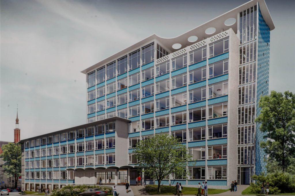 """Einen überzeugenden Entwurf für die Zukunft des Gesundheitsamts-Gebäudes an der Hövelstraße in Dortmund  legte der Star-Designer Karim Rashid aus New York vor. In dem denkmalgeschützten Gebäude soll unter anderem ein """"Prizeotel"""" eröffnen."""