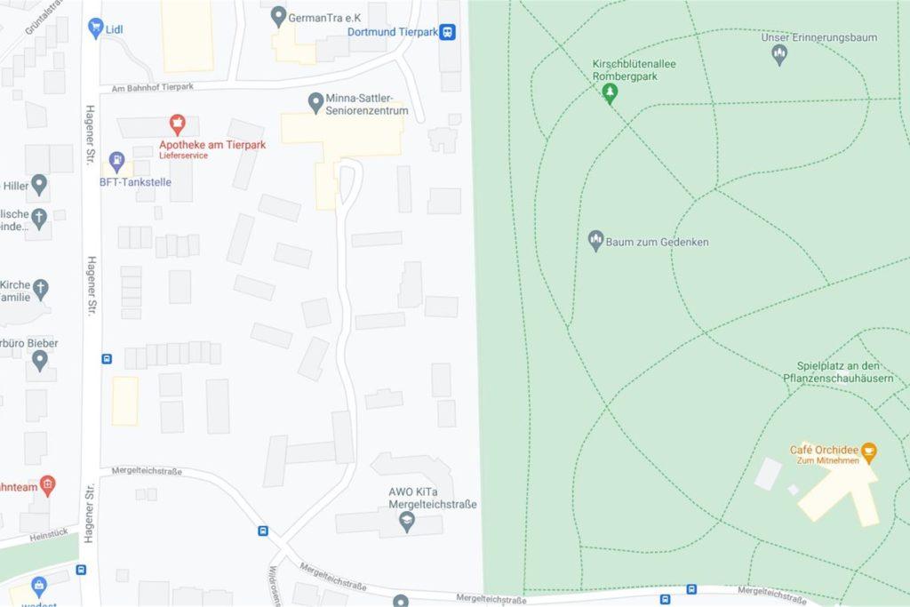 Um diesen Bereich geht es: zwischen Hagener Straße im Westen, der Straße Am Bahnhof Tierpark im Norden, der Mergelteichstraße im Süden und den Bahngleisen im Osten.
