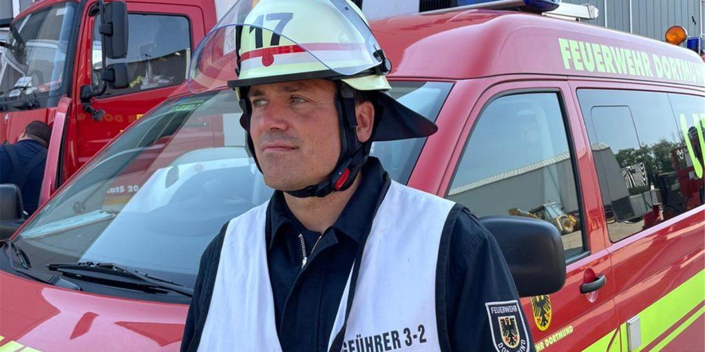 Sven Stämmler (41) ist mit der Feuerwehr Dortmund im Katastrophengebiet in der Eifel eingesetzt.