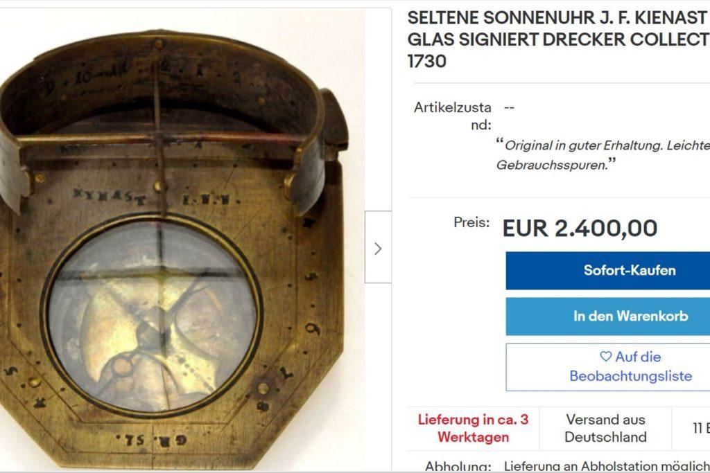 Bei Ebay wird aktuelle eine Sonnenuhr aus der Drecker-Sammlung angeboten.