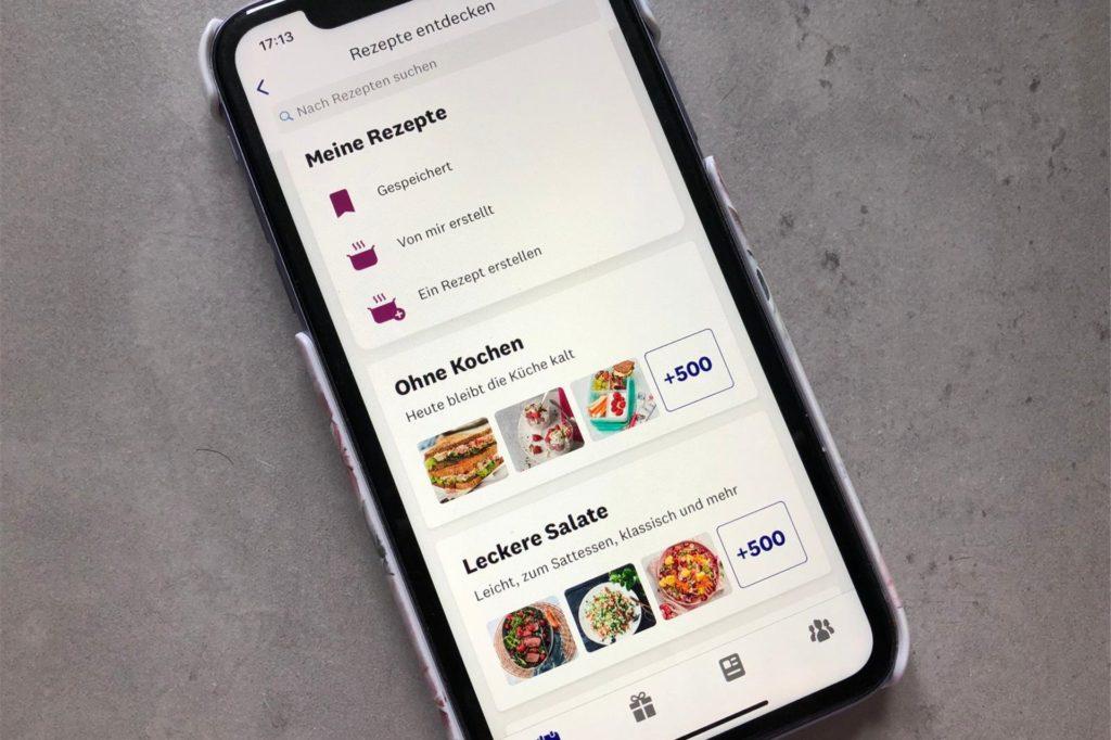 Die WW-App enthält zahlreiche Rezepte, die in verschiedene Kategorien unterteilt sind - beispielsweise Pasta, Frühstück, Familienküche, Vegetarisch, schnelle Küche, Kuchen und Desserts.