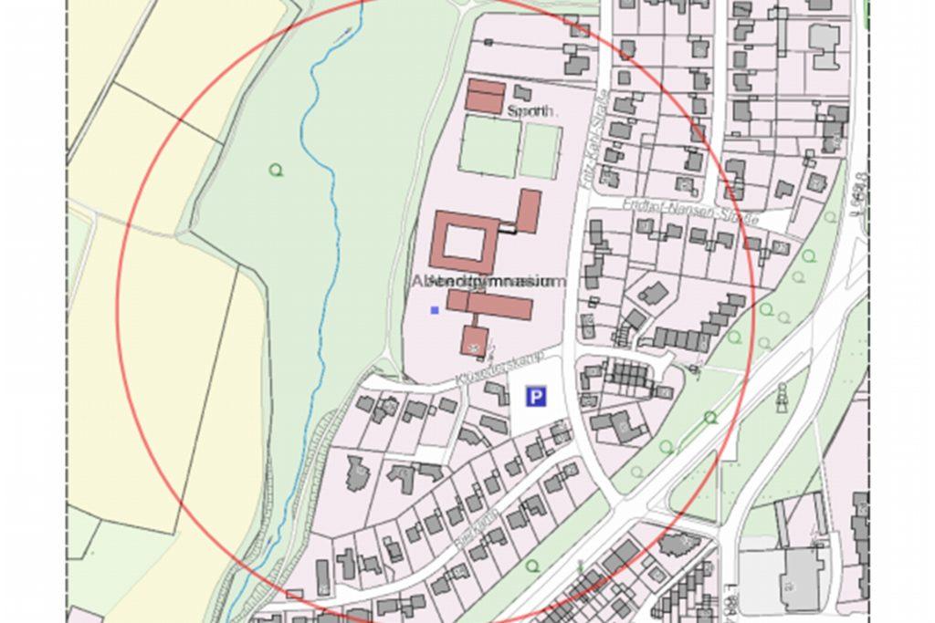 Der 250-Meter-Radius zeigt, welche Haushalte von der Evakuierung betroffen waren.