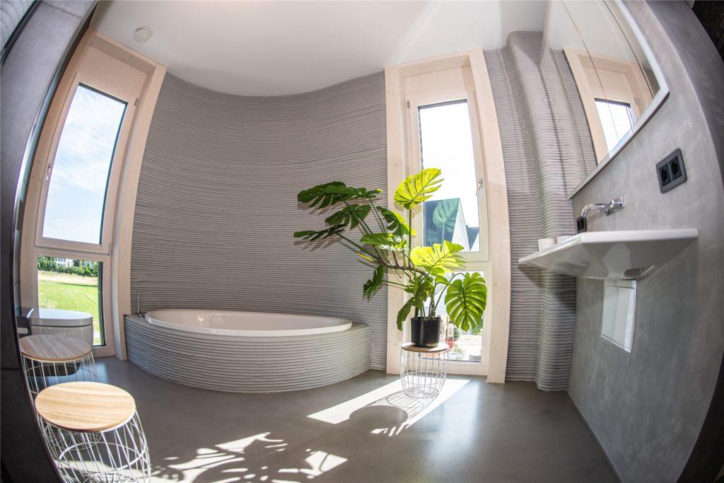 So sieht das Badezimmer des 3D-Drucker-Hauses aus.