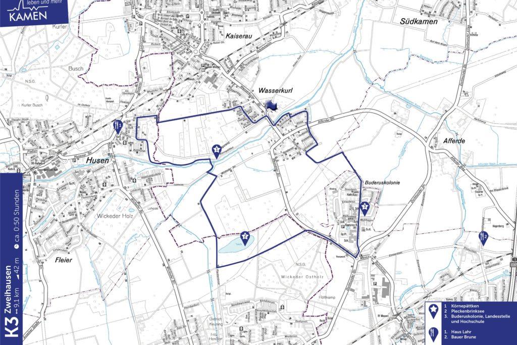 Unterwegs auf dem K3. Die Karte der Stadt Kamen gehört zur Tourensammlung von K1 bis K10.