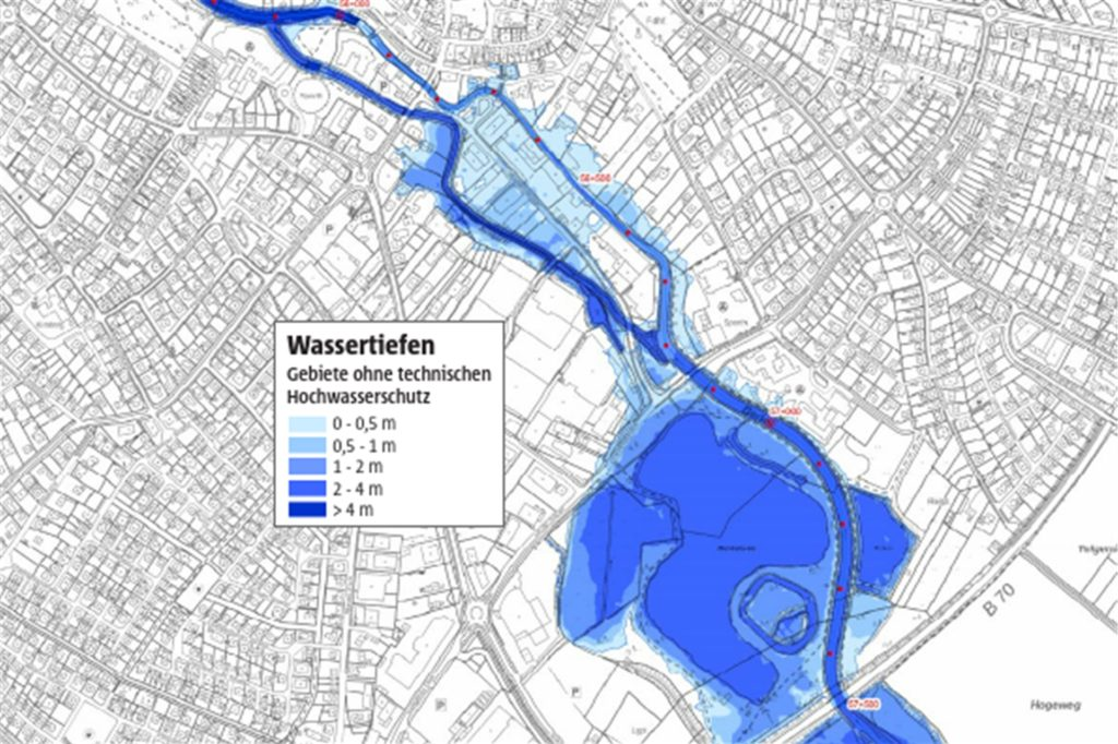 Der Berkelsee würde bei einem extremen Hochwasser über die Ufer treten.