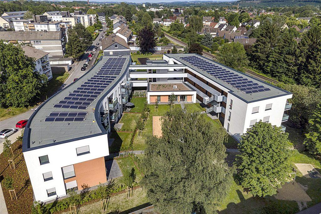 Der neue Wohnkomplex der GWG an der kleinen Märkischen Straße: Trotz hochmoderner Anlage ist die Miete erschwinglich.