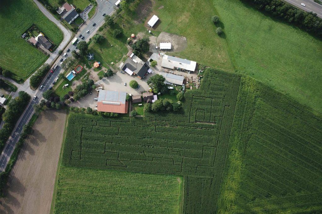 Das Maislabyrinth des Hof Sanders aus der Vogelperspektive.