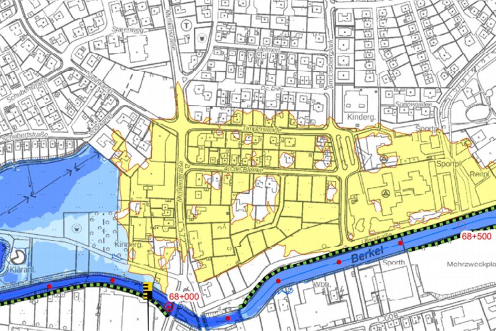 Die Deiche schützen den Bereich nördlich der Berkel vor Überschwemmungen. Die gelb markierte Fläche würde ohne diesen Schutz überflutet.