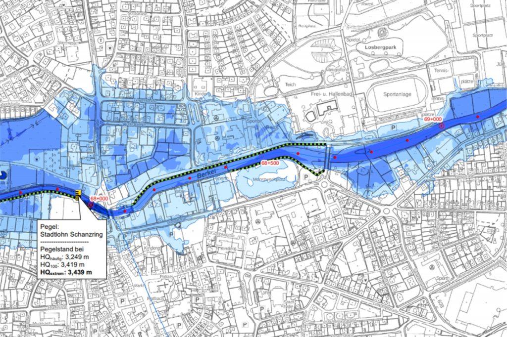 Bei einem Extremhochwasser versagen die Schutzeinrichtungen und zahlreiche Wohngebiete werden überflutet.