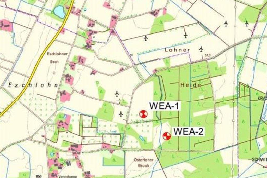 Die Standorte der beiden neuen Anlagen in Eschlohn