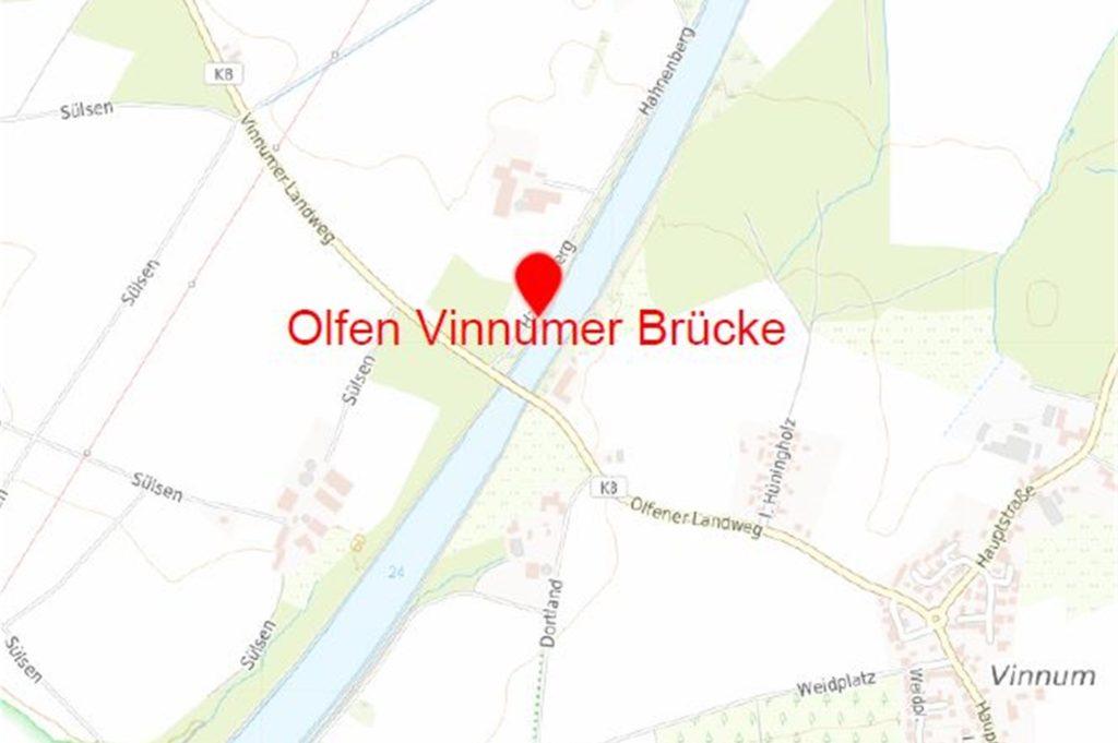 Die Kanalbrücke liegt zwischen Vinnum und Olfen, wie diese Karte zeigt.