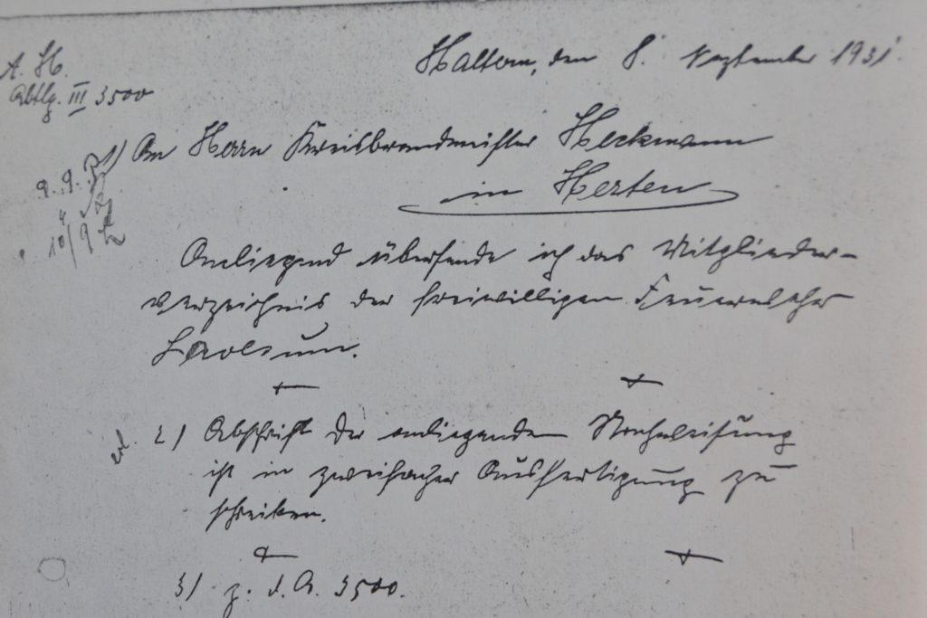 Etwas schwer zu entziffern: die Gründungsschrift der Lavesumer Löscheinheit von 1931.