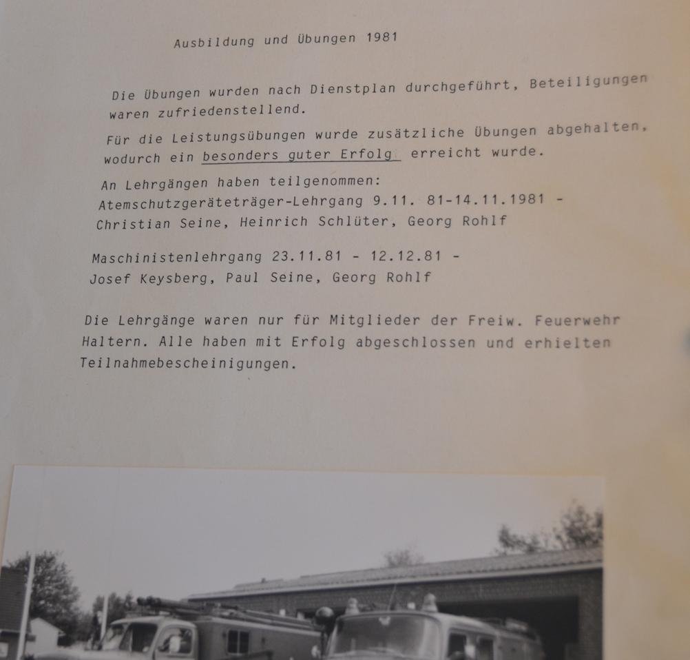 Bereits 1981 war Georg Rohlf ein fester Bestandteil der Freiwilligen Feuerwehr in Haltern und nahm an Maschinenlehrgängen teil.