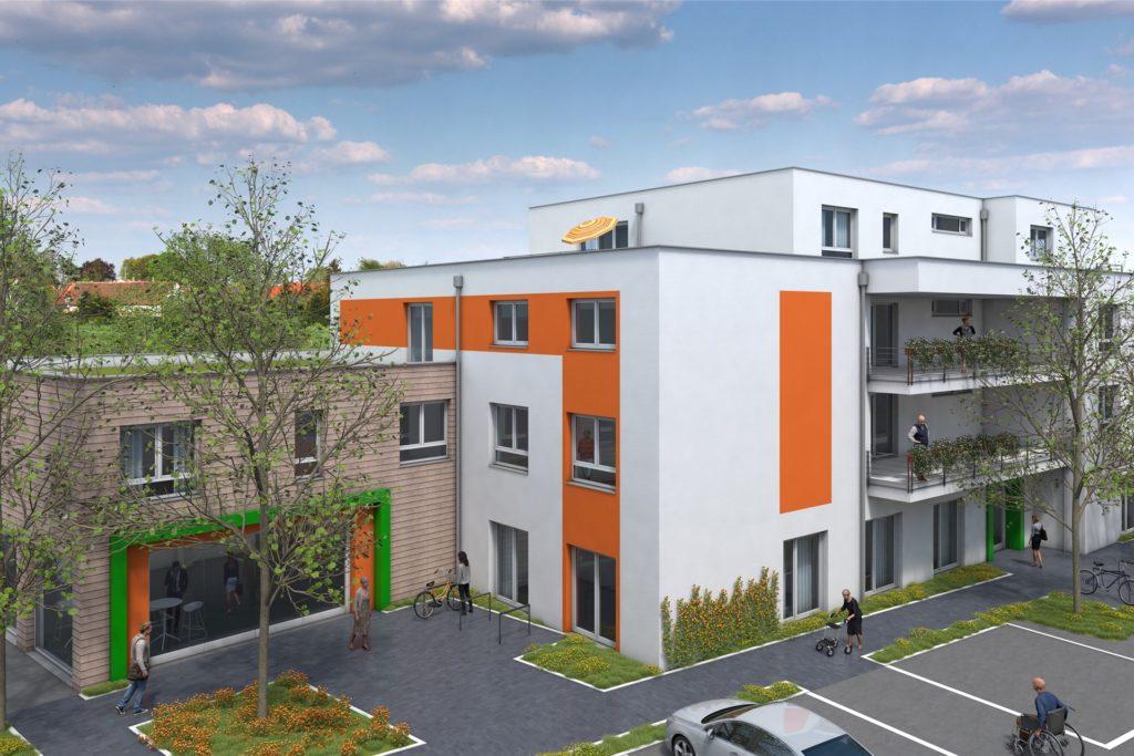 Dieses 3D-Modell zeigt, wie das neue Gesundheitszentrum in Dortmund Huckarde einmal aussehen soll.