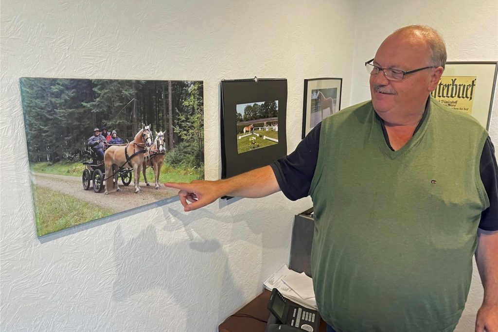 Im Büro hängen verschiedene Pferdefotos, hier zwei Haflinger vor einer Kutsche, die Bispinghoff lenkt.