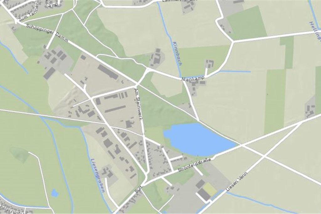 Der Schöppinger Damm verläuft südlich vom Ortsteil Nienborg entlang der Bült bis zur L579.