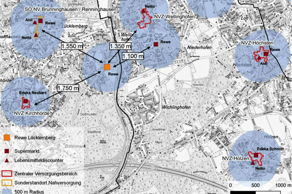 Die Stadt stellt auf dieser Karte die Distanz der südlichen Supermärkte zum umstrittenen Rewe an der Kirchhörder Straße dar.