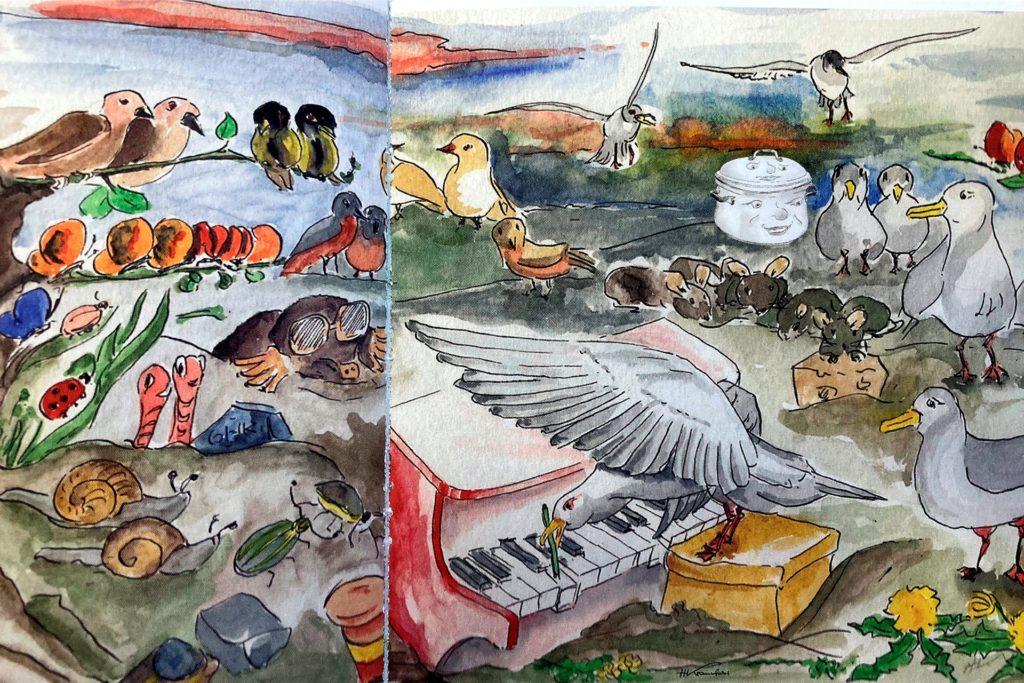 Liebevoll illustriert hat Heinz Kranefeld das Kinderbuch - hier das Kapitel, wo Schmortopf Brutzel und sein Deckel Rumpel einem Konzert lauschen, das eine Möwe auf einem Kinderklavier für andere Tiere gibt.