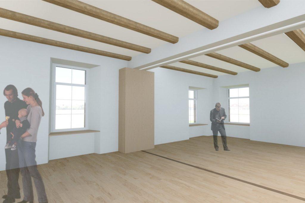 So wird es im Obergeschoss der Burg Botzlar in Selm aussehen. Beide Säle lassen sich trennen.
