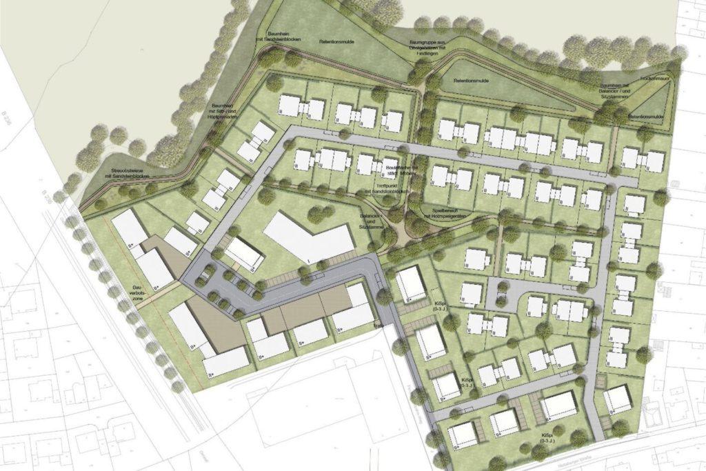 So kann sich das Planungsbüro Heinz Jahnen Pflüger aus Aachen die Aufteilung der Fläche vorstellen, die sich an das Borker Einzelhandelszentrum anschließt. In der Mitte: der Park. Dort war zuvor ein Platz geplant.