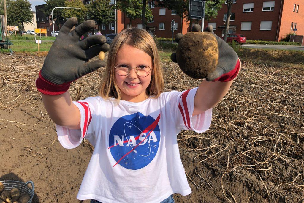 Marlene zeigt, wie unterschiedlich groß Kartoffeln sein können.
