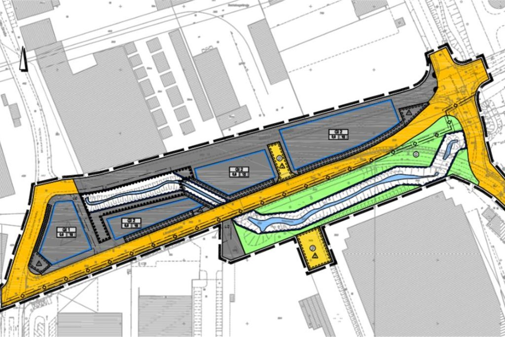 So sieht der Plan aus: Gelb in der Mitte ist der geplante neue Verlauf der öffentlichen Straßen (längs in der Mitte die