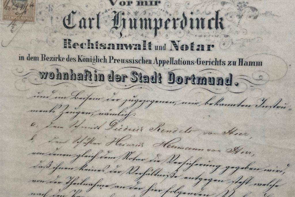 Ein Ausschnitt aus der ersten Seite des Schenkungsvertrages von Clemens von Romberg für den kirchenlichen Bauplatz aus dem Jahr 1866.